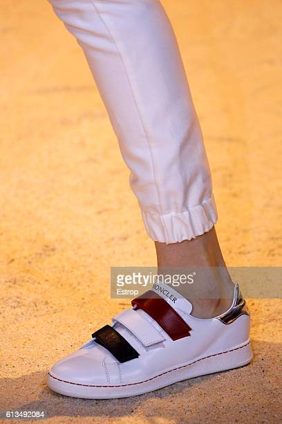 Shoe detail at the Moncler Gamme Rouge show as part of the Paris Fashion Week Womenswear Spring/Summer 2017 on October 5 2016 in Paris France