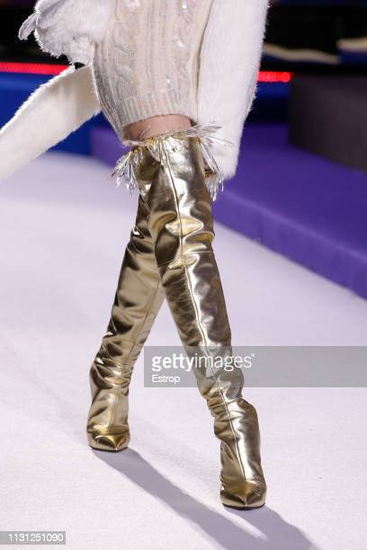 Shoe detail at the Moschino show at Milan Fashion Week Autumn/Winter 2019/20 on February 20 2019 in Milan Italy