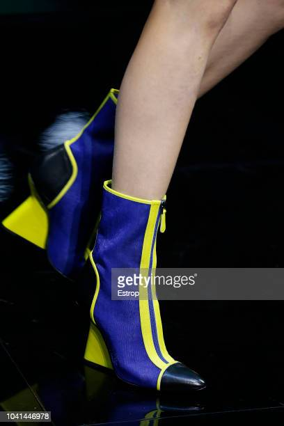 Shoe detail at the Moschino show during Milan Fashion Week Spring/Summer 2019 on September 20 2018 in Milan Italy