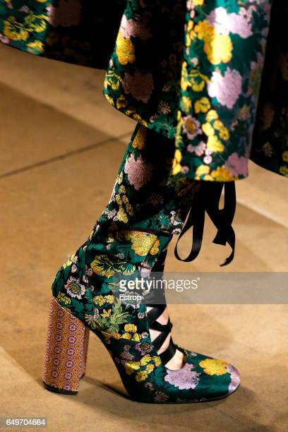 Shoe detail at the runway during ERDEM show at the London Fashion Week February 2017 collections on February 20 2017 in London England