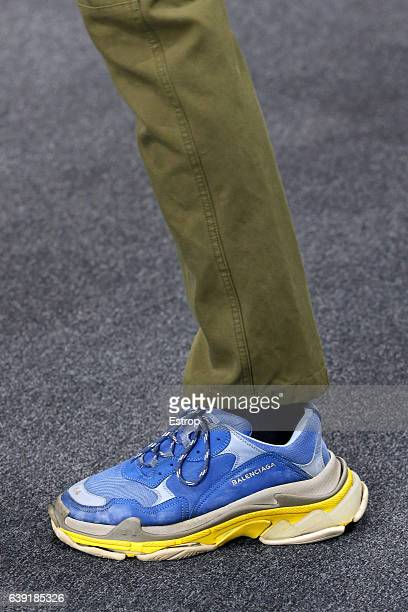 Shoe detail at the runway during the Balenciaga Menswear Fall/Winter 20172018 show as part of Paris Fashion Week on January 18 2017 in Paris France