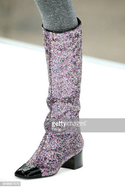 Shoe detail at the runway during the Chanel show as part of the Paris Fashion Week Womenswear Fall/Winter 2017/2018 on March 7 2017 in Paris France