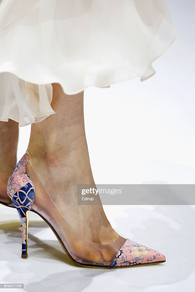 A Shoe detail at the Shiatzy Chen show as part of the Paris Fashion Week Womenswear Spring/Summer 2017 on October 4, 2016 in Paris, France.