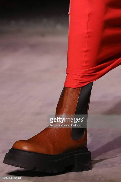 Shoe detail at the Sportmax Fall/Winter 2021-2022 show as part of Milan Fashion Week on February 27, 2021 in Milano, Italy