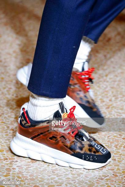 Shoe detail at the Versace show during Milan Men's Fashion Week Fall/Winter 2018/19 on January 13 2018 in Milan Italy