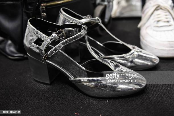 Shoe detail backstage ahead of the Bora Aksu show during London Fashion Week September 2018 on September 14 2018 in London England