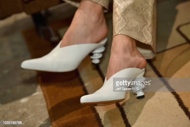 Shoe detail by Kalda at the DiscoveryLAB during London Fashion Week September 2018 at BFC Designer Showrooms on September 14 2018 in London England