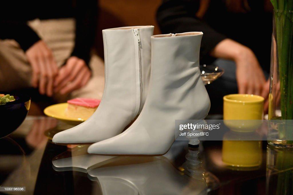 Shoe, detail, by Kalda at the DiscoveryLAB during London Fashion Week September 2018 at BFC Designer Showrooms on September 14, 2018 in London, England.