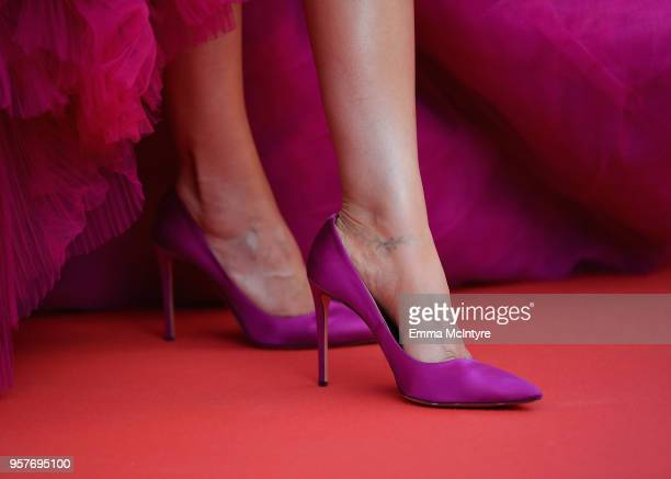 Shoe detail Deepika Padukone attends the screening of 'Ash Is The Purest White ' during the 71st annual Cannes Film Festival at Palais des Festivals...