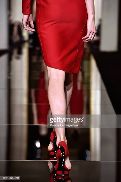 A shoe detail is seen as a model walks the runway during the Versace show as part of Paris Fashion Week Haute Couture Spring/Summer 2015 on January...