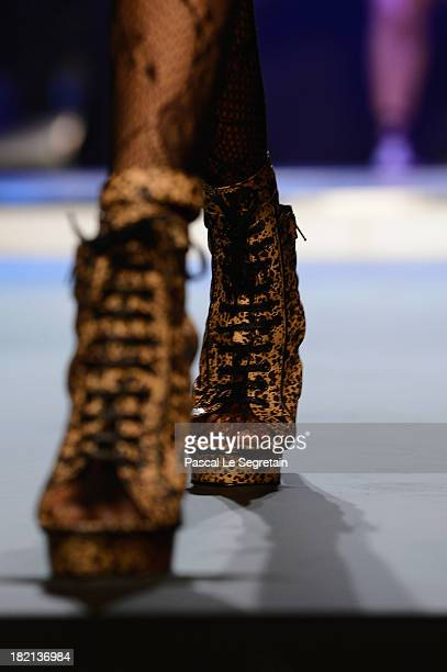 Shoe detail of a model as she walks the runway during Jean Paul Gaultier show as part of the Paris Fashion Week Womenswear Spring/Summer 2014 at Le...