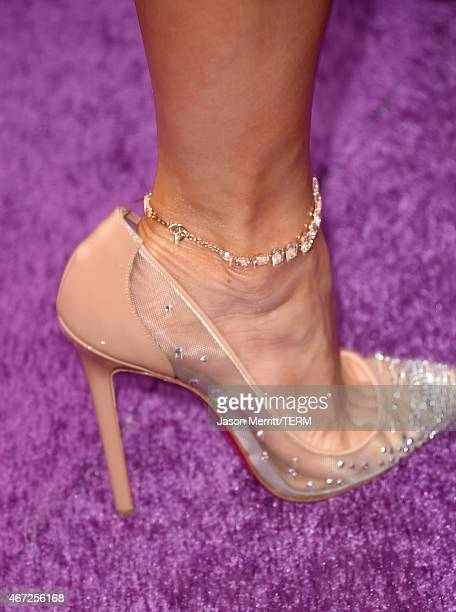 Shoe detail of Jennifer Lopez at the premiere of Twentieth Century Fox And Dreamworks Animation's 'HOME' at Regency Village Theatre on March 22 2015...