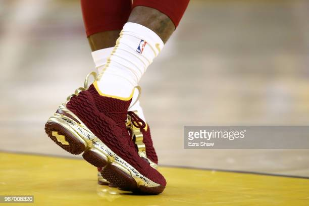 A shoe detail of LeBron James of the Cleveland Cavaliers in Game 2 of the 2018 NBA Finals against the Golden State Warriors at ORACLE Arena on June 3...