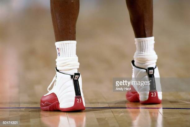 Shoe detail of Michael Jordan of the Chicago Bulls during the game against the Phoenix Suns during an NBA game on November 20 1997 at the America...