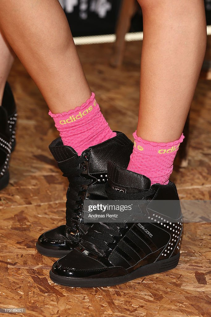 A shoe detail of Selena Gomez is pictured during a photocall to launch the Selena Gomez by adidas NEO collection on July 9, 2013 in Berlin, Germany.