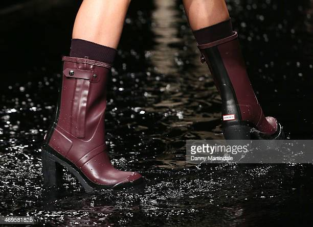 A shoe detail on a model as she walks the runway at the Hunter Original show at London Fashion Week AW14 at University of Westminster on February 15...