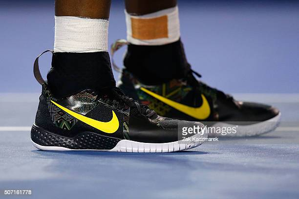 Shoe detail on Serena Williams of the United States looks on in her semi final match against Agnieszka Radwanska of Poland during day 11 of the 2016...