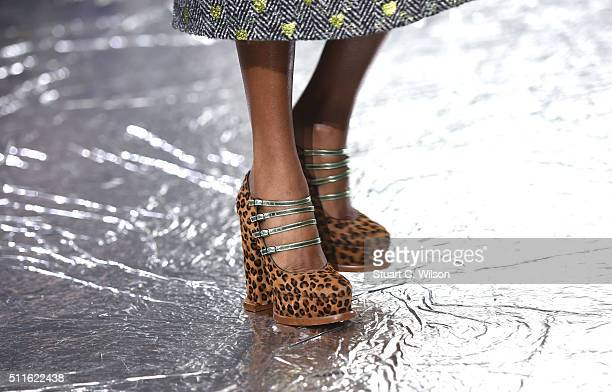 Shoe detail on the runway at the Mary Katrantzou show during London Fashion Week Autumn/Winter 2016/17 at Central Saint Martins on February 21 2016...