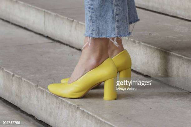Shoe detail seen during Paris Fashion Week Womenswear Fall/Winter 2018/2019 on March 5 2018 in Paris France