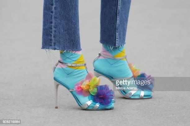 Shoe detail seen during Paris Fashion Week Womenswear Fall/Winter 2018/2019 on March 6 2018 in Paris France