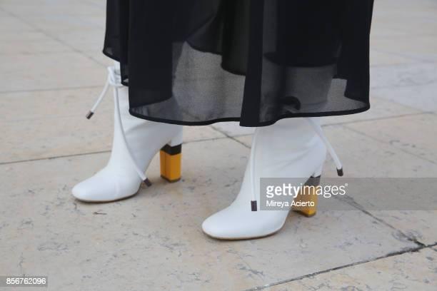 Shoe detail seen during Paris Fashion Week Womenswear Spring/Summer 2018 on October 2 2017 in Paris France