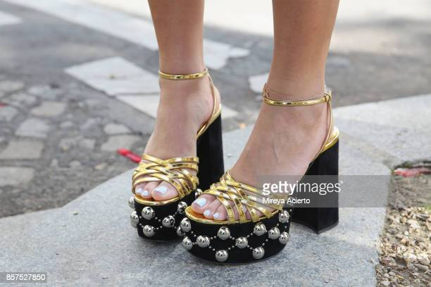 Shoe detail seen during Paris Fashion Week Womenswear Spring/Summer 2018 on October 3 2017 in Paris France