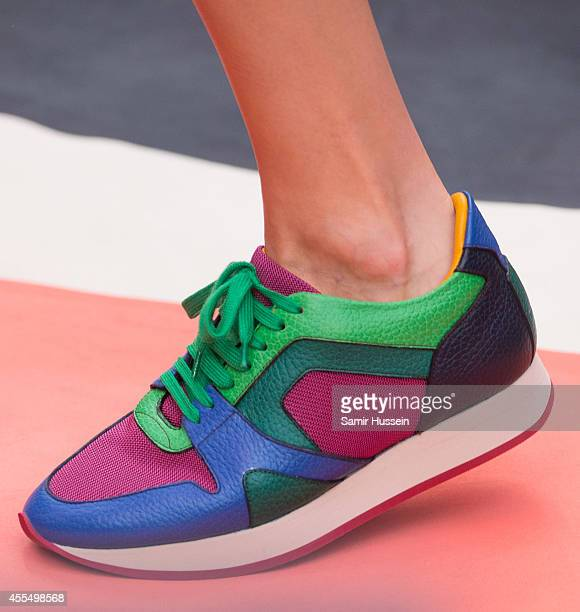 shoe details as a model walks the runway at the Burberry Prorsum show during London Fashion Week Spring Summer 2015 on September 15 2014 in London...