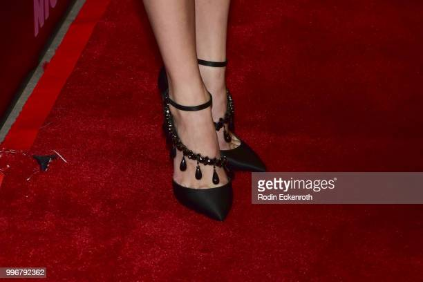 [Shoe fashion detail] Maika Monroe arrives at the screening of A24's 'Hot Summer Nights' at Pacific Theatres at The Grove on July 11 2018 in Los...