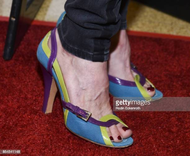 Shoe fashion detail Nana Visitor attends the premiere of Magnolia Pictures' Lucky at Linwood Dunn Theater on September 26 2017 in Los Angeles...