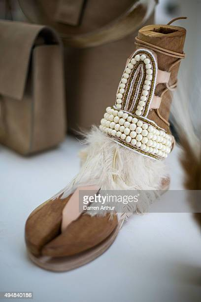 A shoe is presented at the Designer Showcase during the Vogue Fashion Dubai Experience 2015 at The Dubai Mall on October 29 2015 in Dubai United Arab...