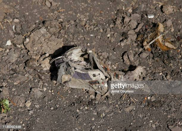 A shoe lies among the debris at the crash site of Ethiopian Airlines Flight ET 302 on March 12 2019 in Bishoftu Ethiopia All 157 passengers and crew...