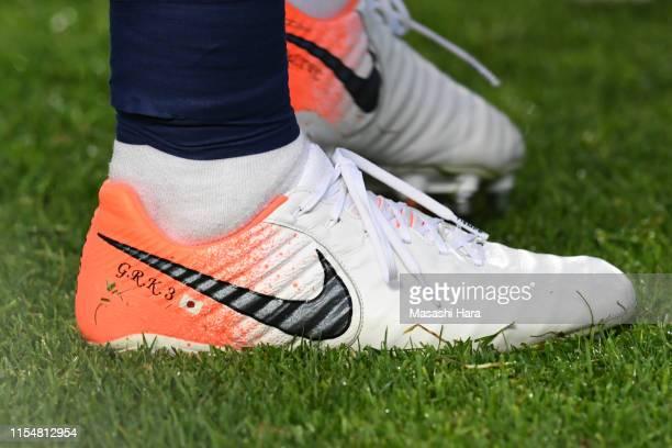 Shoe of Gen Shoji of Japan prior to the international friendly match between Japan and El Salvador at Hitomebore Stadium Miyagi on June 09 2019 in...