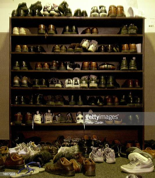 A shoe rack overflows outside of the Mustafa Center a suburban mosque September 22 2002 in Annandale Virginia Muslims all over the world are fasting...