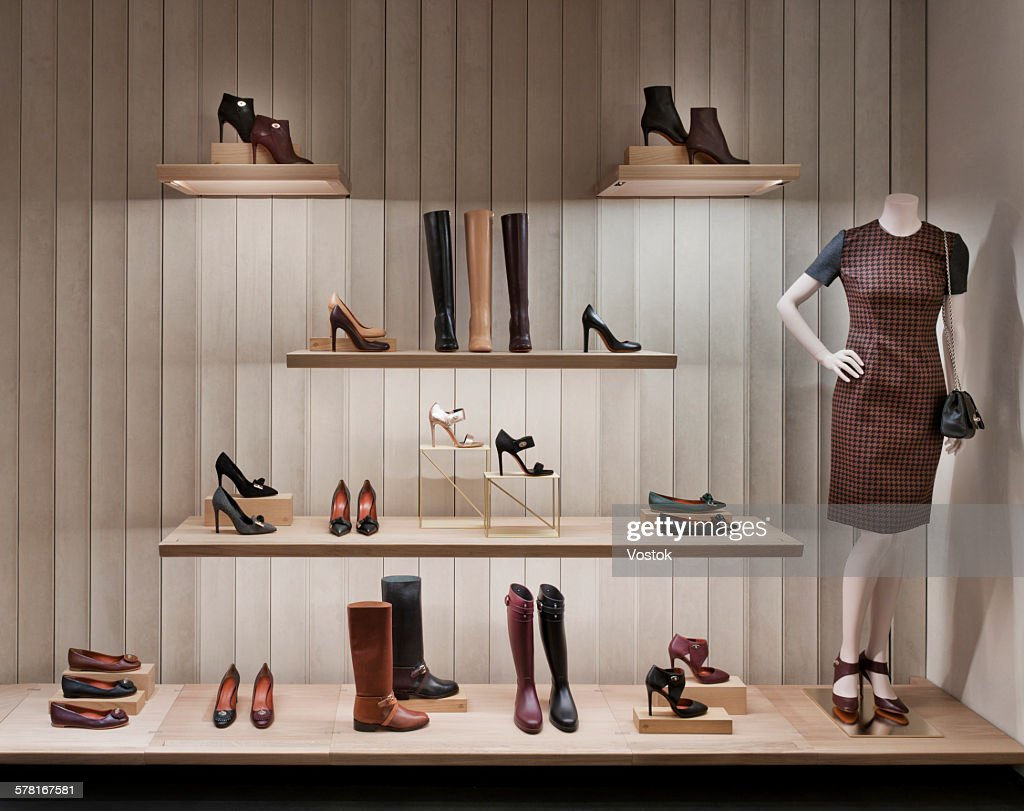 Shoe shelve in luxury boutique : Stock Photo