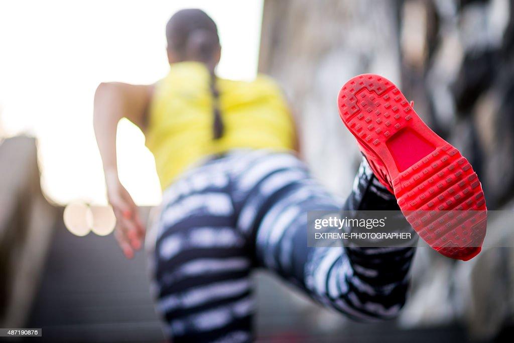 Shoe sole of female runner : Stock Photo