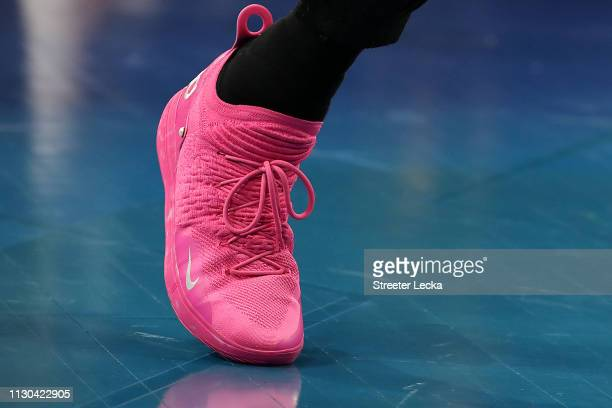 A shoe worn by Kevin Durant of the Golden State Warriors and Team LeBron is seen during the NBA AllStar game as part of the 2019 NBA AllStar Weekend...
