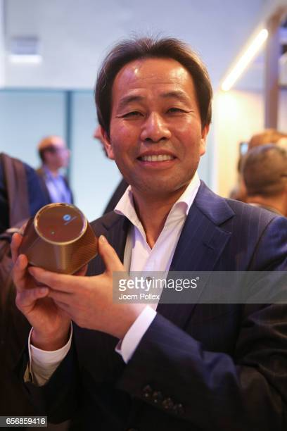 Shoei Yamana CEO and President of Konica Minolta Inc is pictured after Spotlight Live the Konica Minolta Workplace Hub Launch at Umspannwerk...