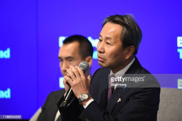 Shoei Yamana president and chief executive officer of Konica Minolta Inc speaks during the Bloomberg Year Ahead summit in Tokyo Japan on Thursday Dec...