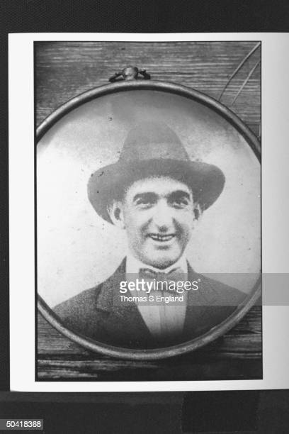 Shoeless Joe Jackson controversial baseball player in formal hat tie in oval frame LOCATION UNKNOWN