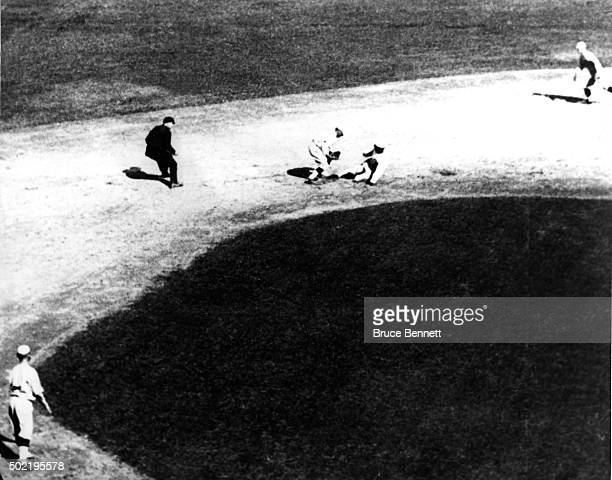 'Shoeless' Joe Jackson of the Chicago White Sox is caught stealing second base as Larry Kopf of the Cincinnati Reds tags him out during Game 3 of the...