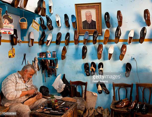 Shoemaker in his workshop, Alexandria, Egypt