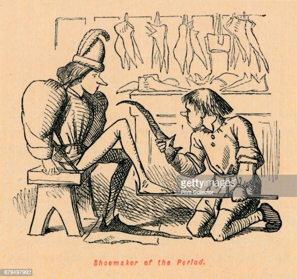Shoemaker of the Period', c1860, . From The Comic History of England, Volume I, by Gilbert A A'Beckett [Bradbury, Agnew, & Co., London, ] Artist John...