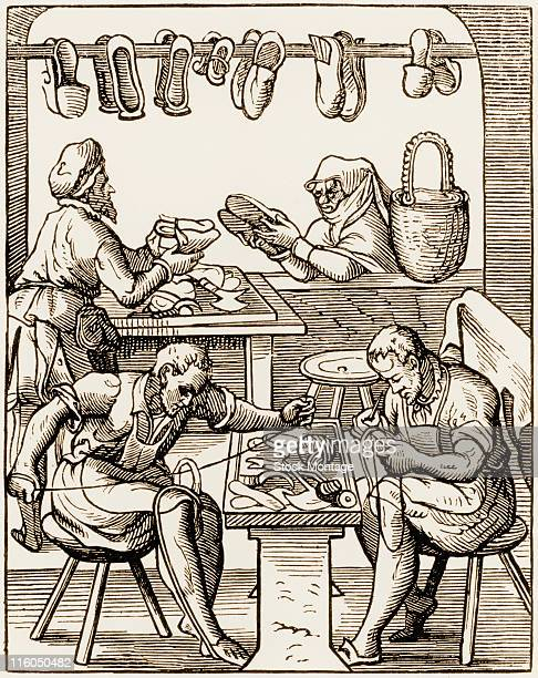 A shoemaking shop during the Middle Ages with two men making shoes and a third man showing shoes to a woman circa 1450