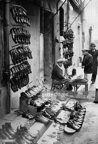 Shoemarket in the old town of Marseille Photograph France Around 1930