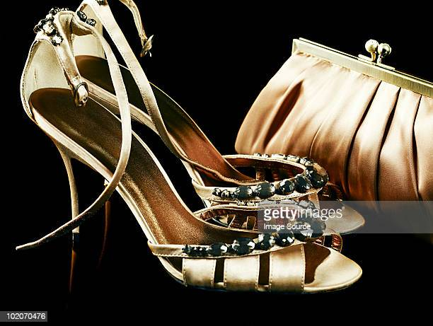 shoes and handbag - gold purse stock pictures, royalty-free photos & images