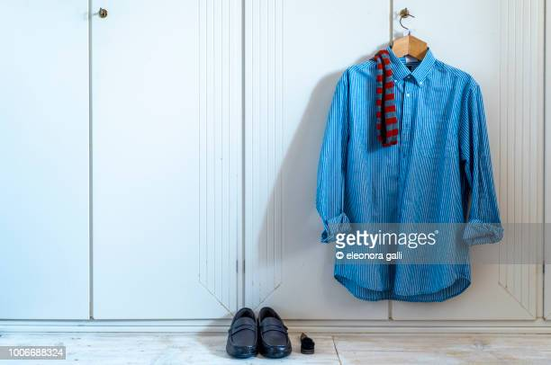 shoes and shirt - men fashion stock photos and pictures