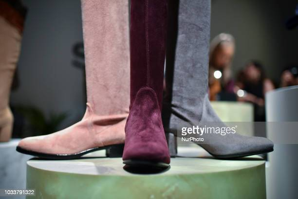 Shoes are displayed at the S Novio presentation during London Fashion Week September 2018 London on September 15 2018