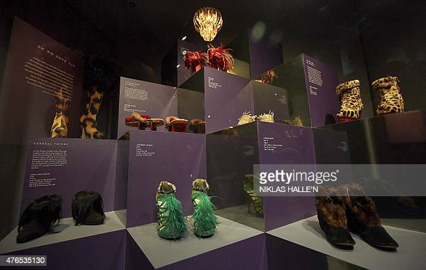 Shoes are displayed during a photocall for an exhibition entitled 'Shoes Pleasure and Pain' at the Victoria and Albert Museum in central London on...
