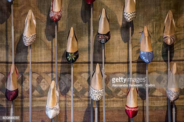 Shoes are displayed in the museum located in the headquarters of the Ferragamo luxury brand at the Palazzo Spini Feroni on July 18, 2016 in Florence,...