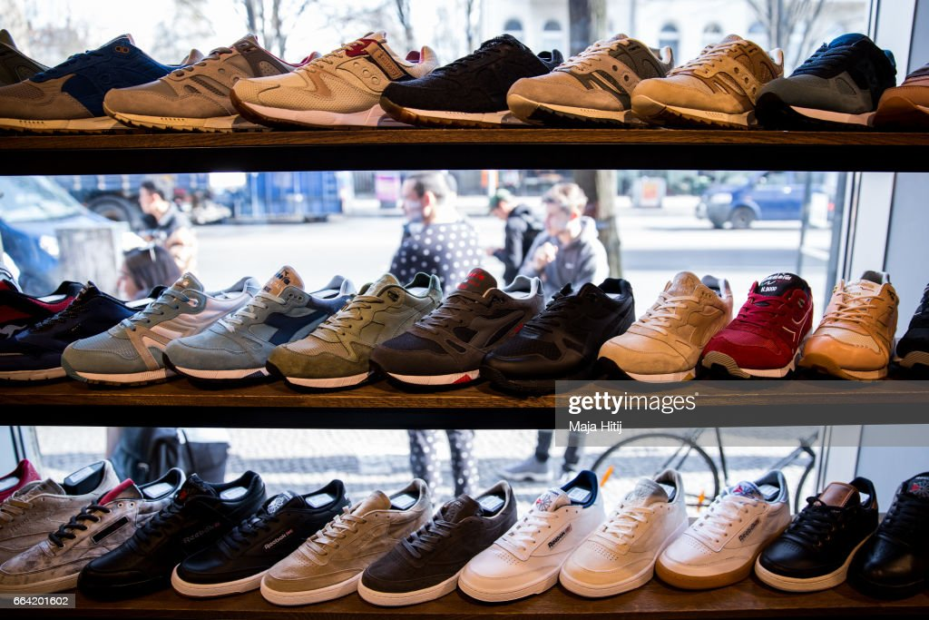 reputable site 0ac6e 1ab09 Shoes are seen at 'Overkill' sneakers store on March 31 ...